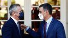 Sánchez, con el secretario general de la OTAN, Jens Stoltenberg, con el que se reunió en la Moncloa