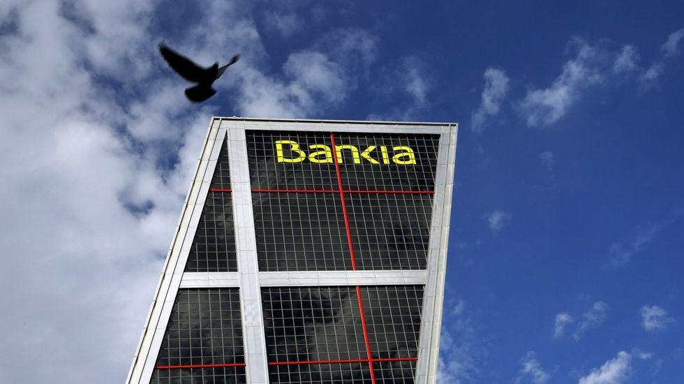 trabajador, trabajadores, construcción, empleados, guantes, martillo.Sede del Bankia en Madrid
