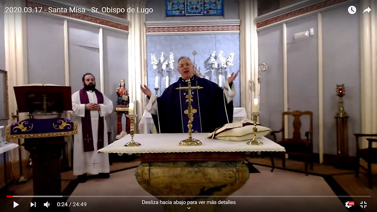 Un Domingo de Ramos con coronavirus y sin Borriquita.El Obispo Alfonso Carrasco Rouco ofrece las misas a través de Youtube