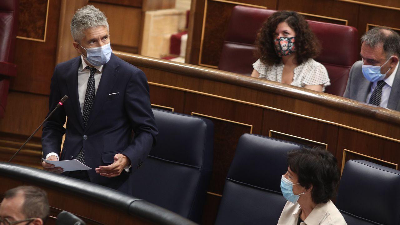 Fernando Grande-Marlaska, este miércoles, en la sesión de control al Gobierno en el Congreso