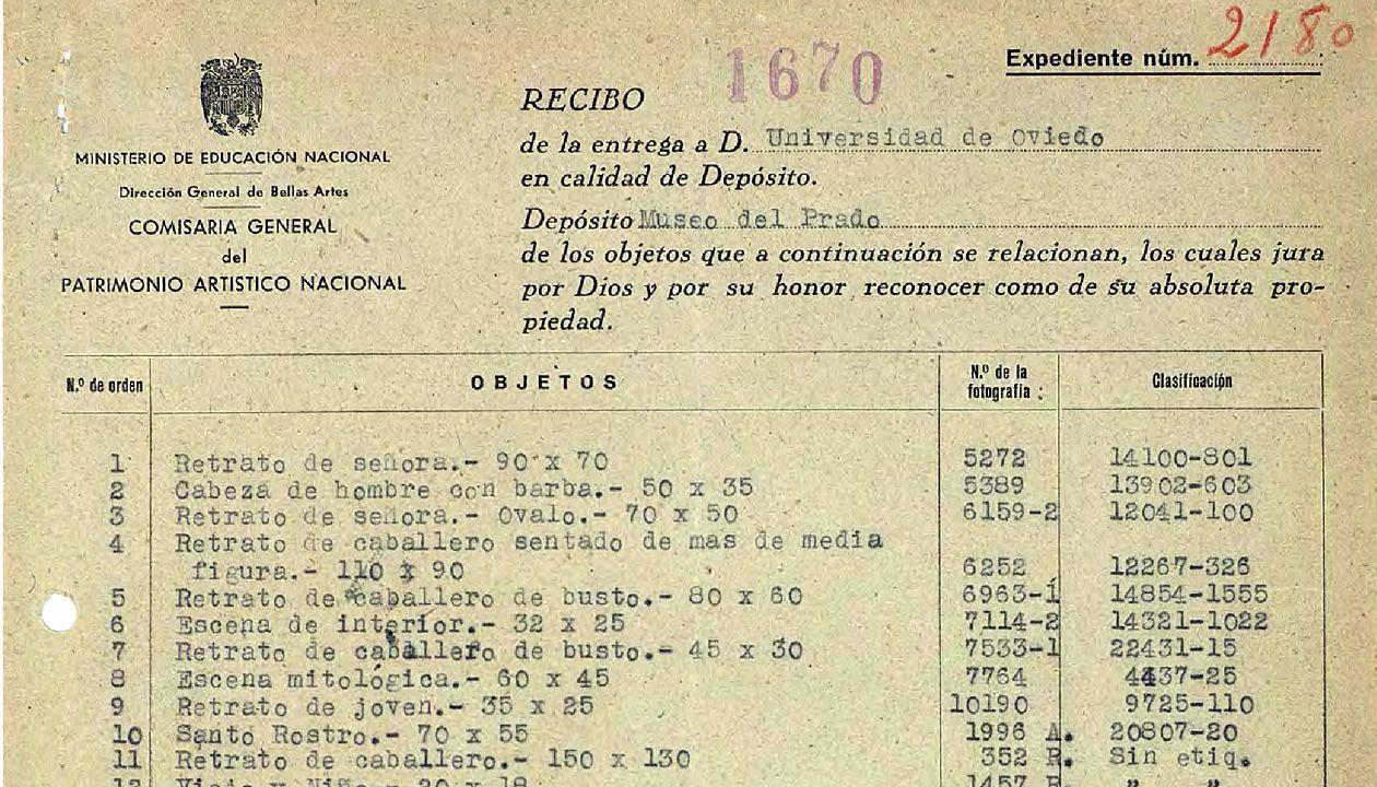 O Sanatorio.Detalle del acta de entrega de obras en depósito tras la Guerra Civil a la Universidad de Oviedo, realizada en 1941 por las autoridades franquistas