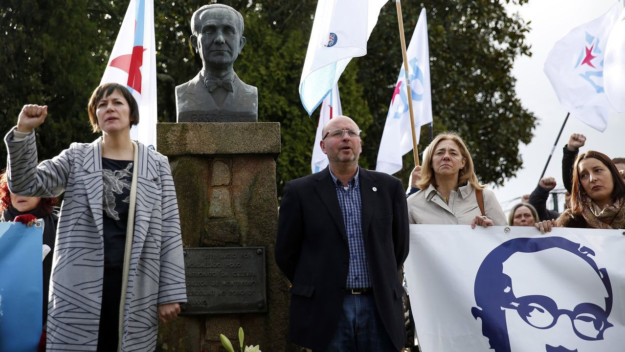 O BNG lembrou a Castelao en Rianxo polo seu 70 cabodano.Néstor Rego, del BNG, durante su comparecencia del sábado