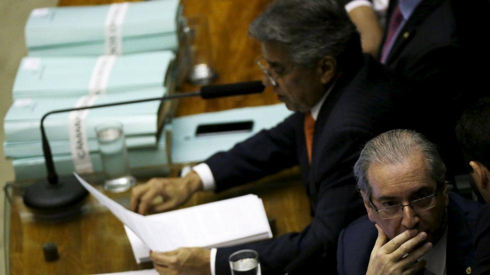 Lula da Silva, aclamado tras su arresto.Eduardo Cunha, en una imagen de archivo