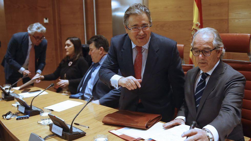 desaparecidosh.Zoido y Serrano, durante un reciente acto en la presentación de una campaña de tráfico