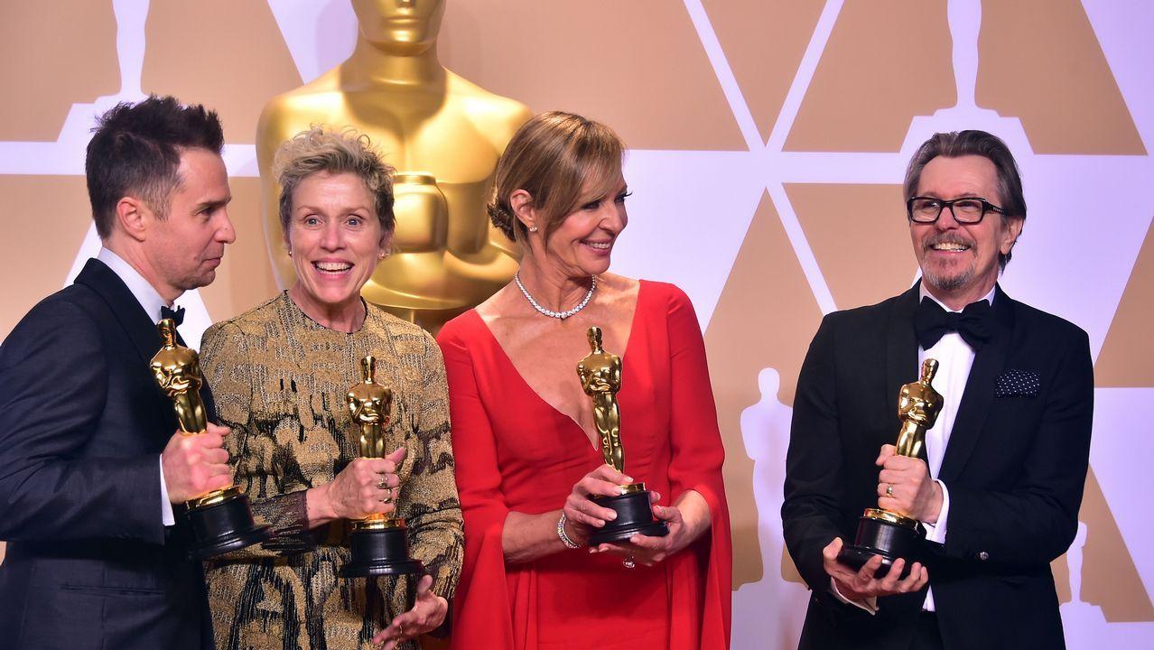 Los cuatro actores ganadores en papeles principañes y de reparto: Sam Rockwell, Frances McDormand, Allison Janney y Gary Oldman