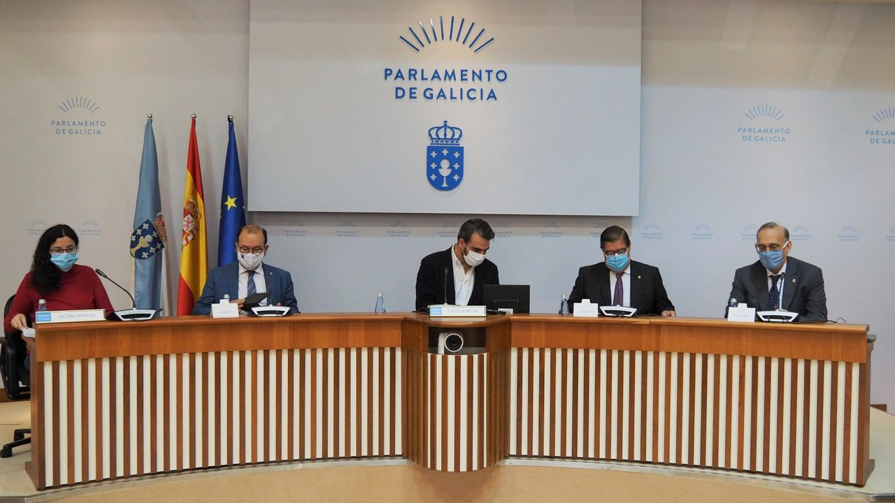 Los tres rectores comparecieron este jueves en la comisión para la reactivación económica de Galicia creada en el Parlamento