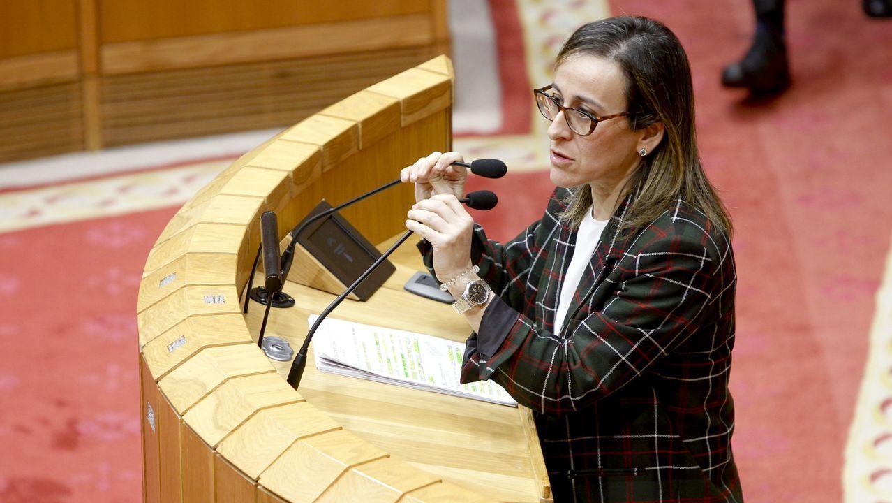 Encuentro entre el presidente de la Xunta, Alberto Núñez Feijoo, y el presidente del Principado de Asturias, Adrián Barbón.Ethel Vázquez interviniendo en el plenod el Parlamento, en una foto de archivo