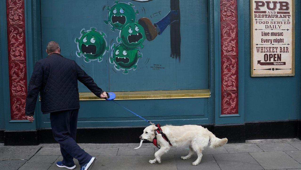 Un hombre pasea a su perro por una calle de Dublín en la que hay pintado un mural sobre el covid-19