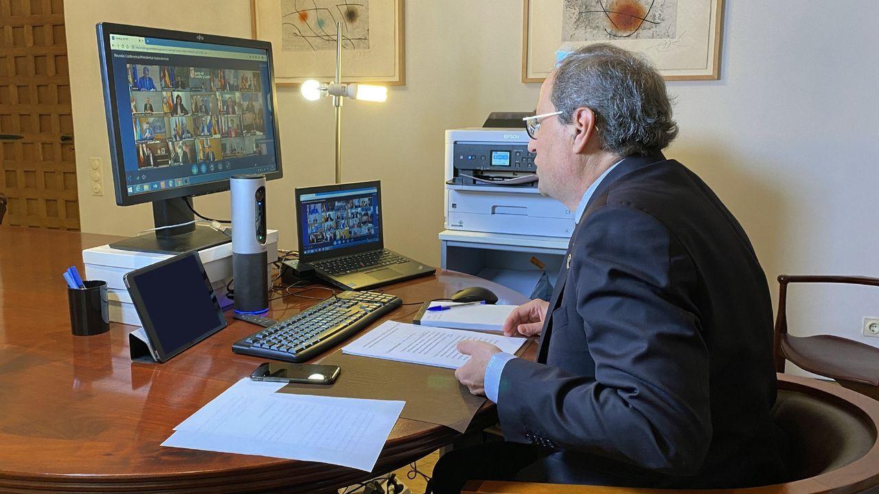 Torra, en una videoconferencia en su despacho.