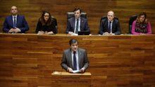 El presidente del Principado, Javier Fernández, durante su intervención en la primera jornada del debate de orientación política general que se celebra en la Junta General del Principado