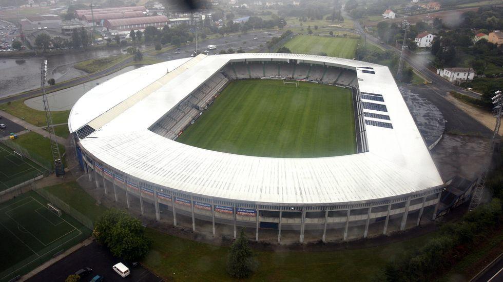 Vista aérea del estadio de A Malata, en foto de archivo