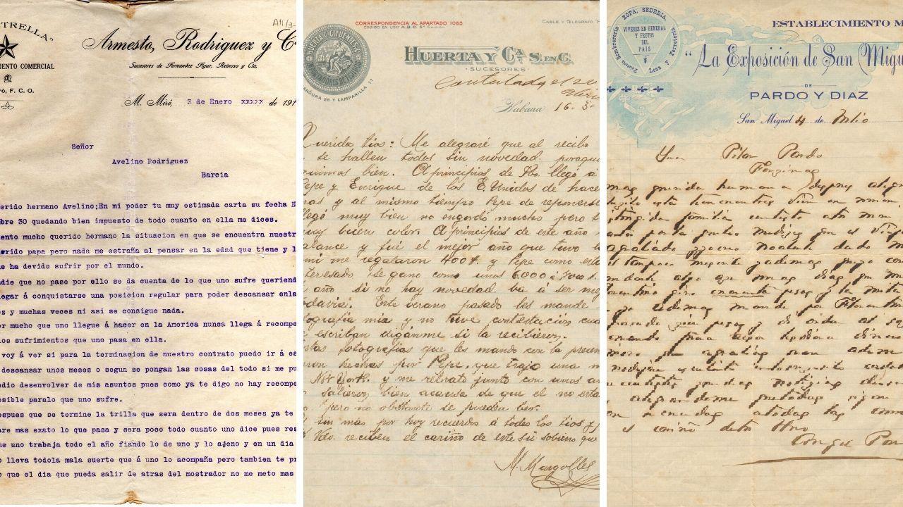 Tres de las cartas de emigrantes que se recuperan en la publicación «Voces de la ausencia»