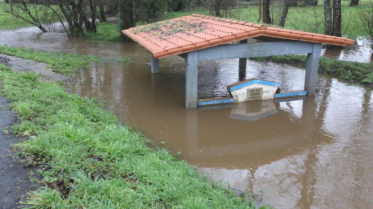 El cauce del Tambre, a su paso por Sigüeiro (Oroso), ha aumentado a causa de las lluvias