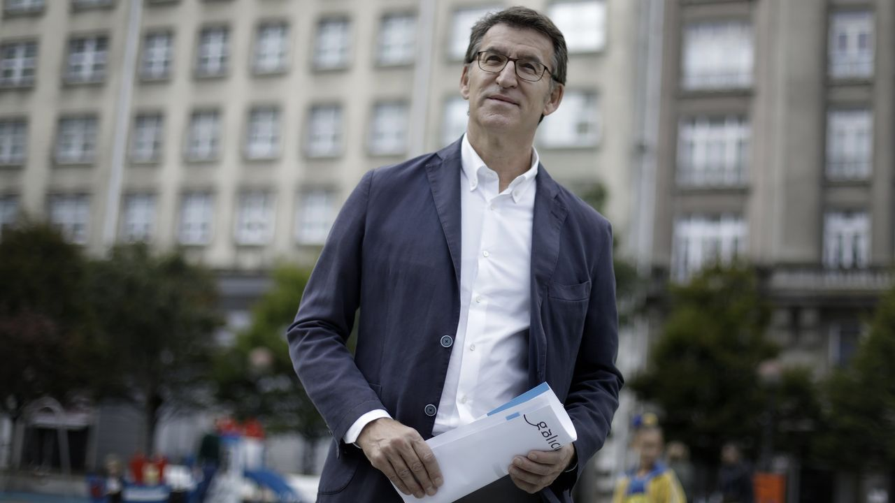 Pablo Casado, durante su mitin en Lalín