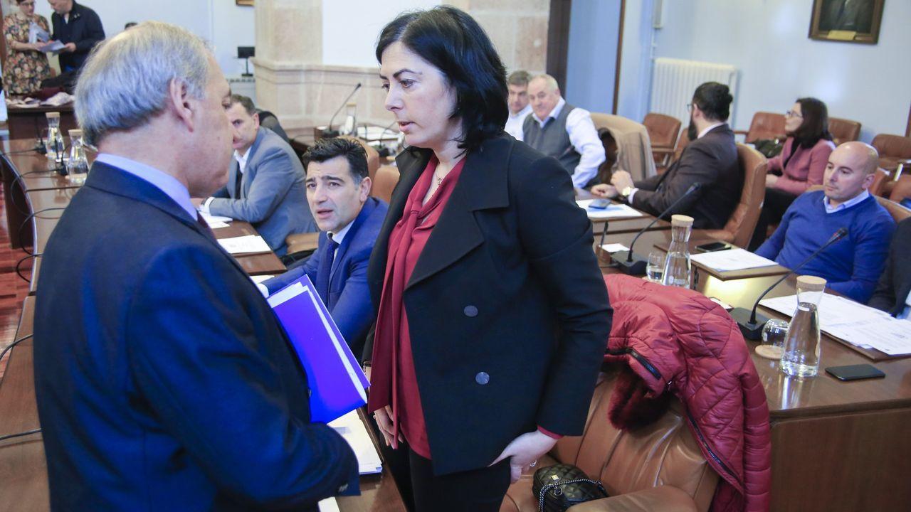 La popular Elena Candia charlando con el presidente provincial, José Tomé, antes de un pleno de la Diputación