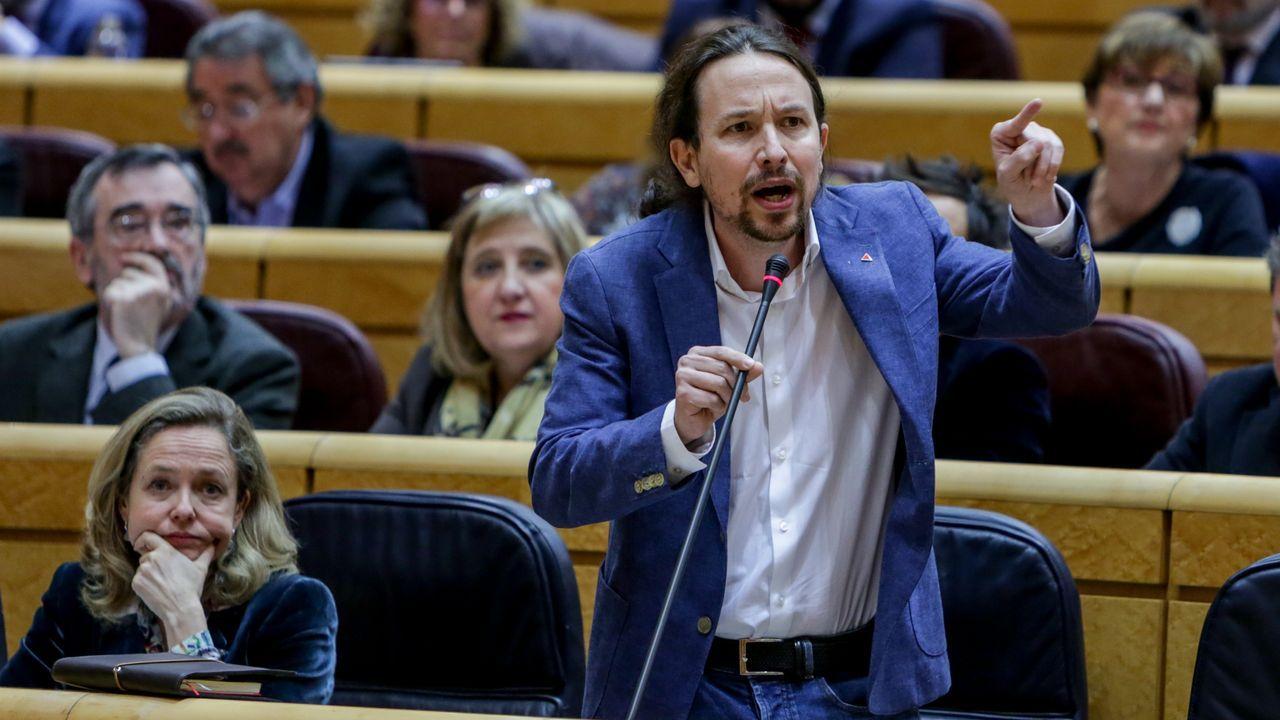Fractura en el Gobierno de coalición a cuenta de la ley de libertad sexual.Pablo Iglesias interviene en la sesión de control al Gobierno en el Senado en presencia de Nadia Calviño
