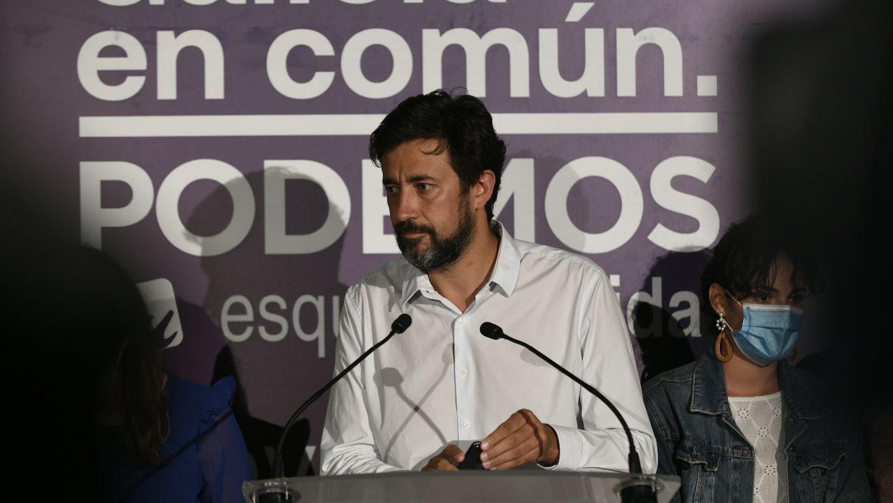 Cmparecencia de Antón Gómez-Reino tras el 12J.Antón Gómez-Reino, candidato de Galicia en Común a la presidencia de la Xunta