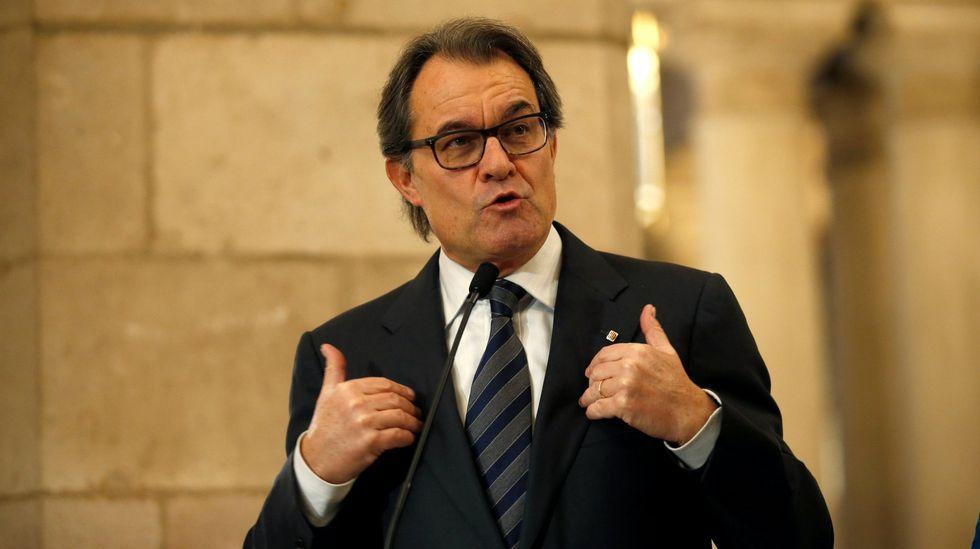 Puigdemont, durante su intervención en febrero en el acto del «consell de la república» en Perpiñán (Francia)