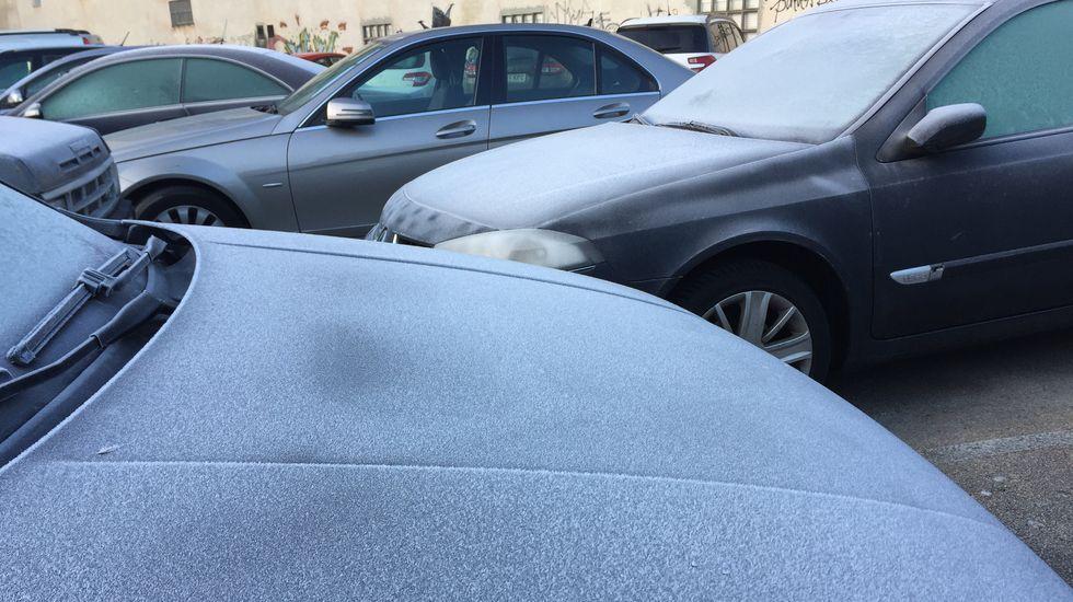 Los vehículos que duermen en la calle han amanecido teñidos de blanco por la helada
