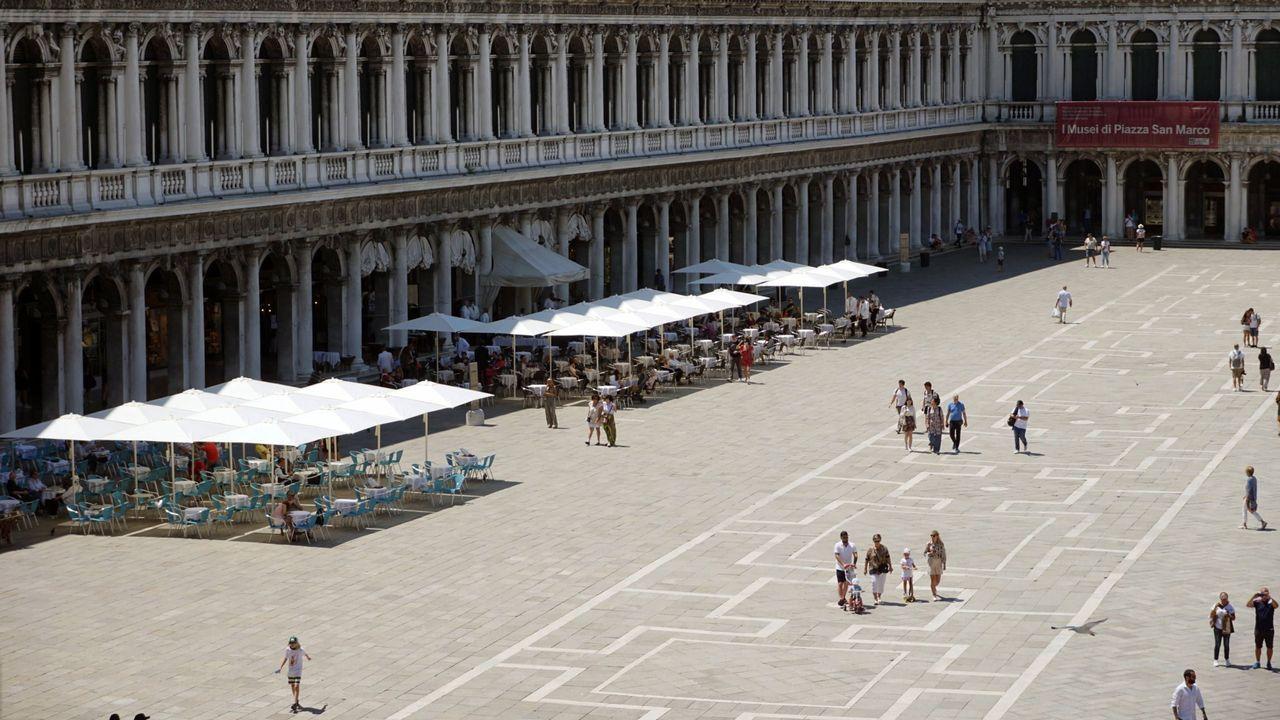 La Plaza de San Marcos, en Venecia, ayer