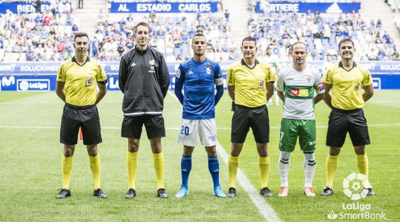 Figueroa Vázquez, entre Tejera y Nino antes del Real Oviedo-Elche