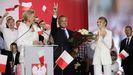 Un exultante Andrej Duda celebra, el domingo, su victoria en las presidenciales polacas