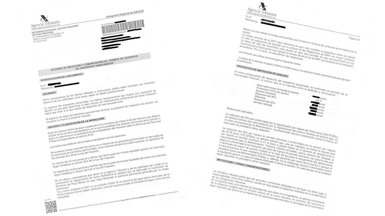 Dos de las páginas del aviso enviado por la Agencia Tributaria
