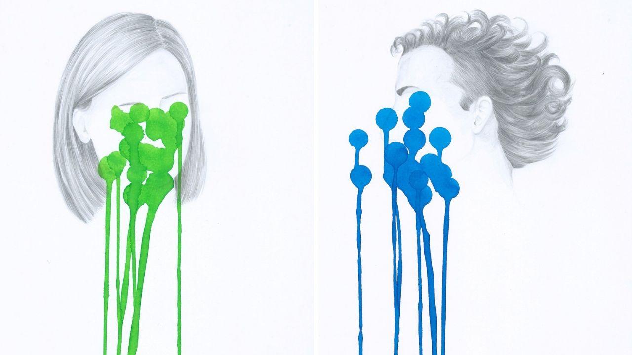 Dos de las obras de la exposición de Nuria Ruibal