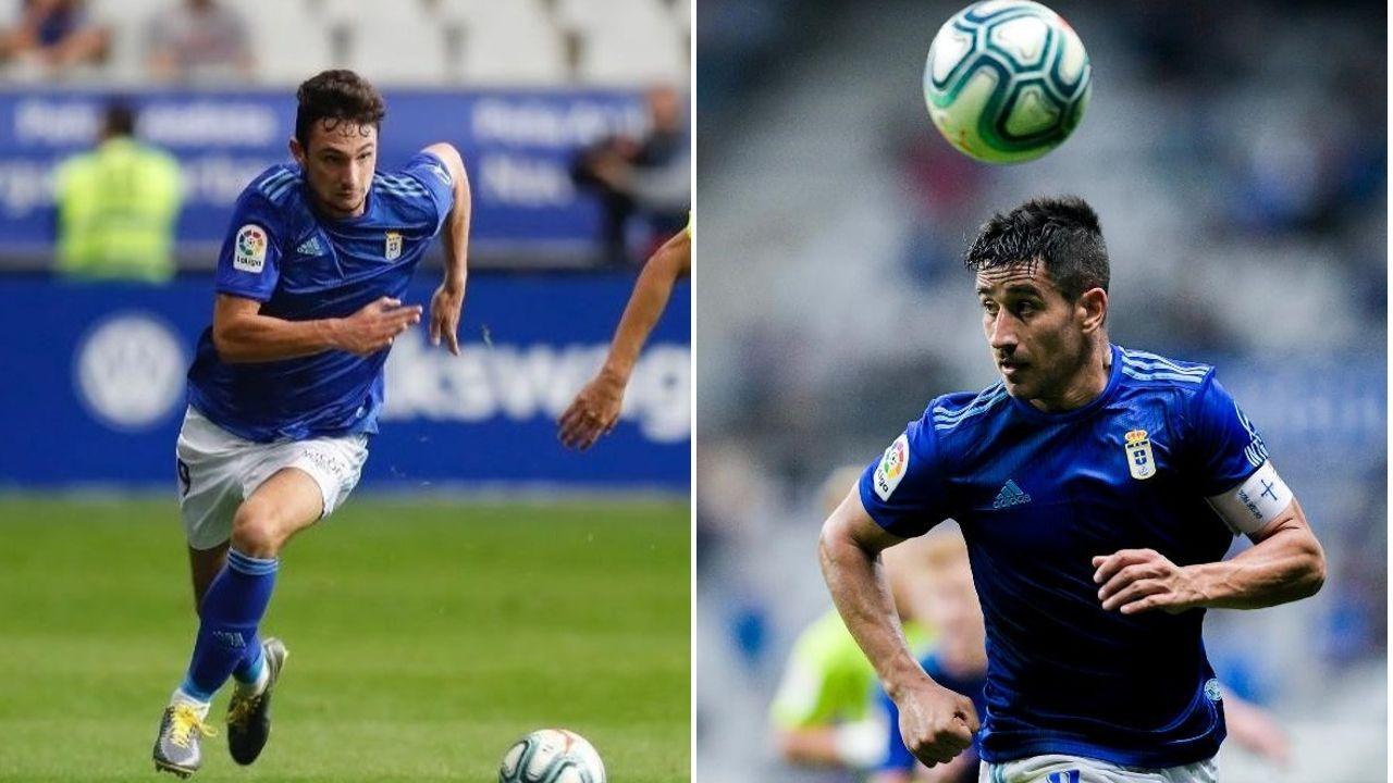 Rozada Real Oviedo Carlos Tartiere.Borja Sánchez y Saúl Berjón en un encuentro con el Real Oviedo