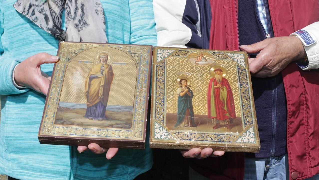 Los iconos representan una virgen y un San Nicolás, al que los guerrilleros denominaron «patrón de la URSS»