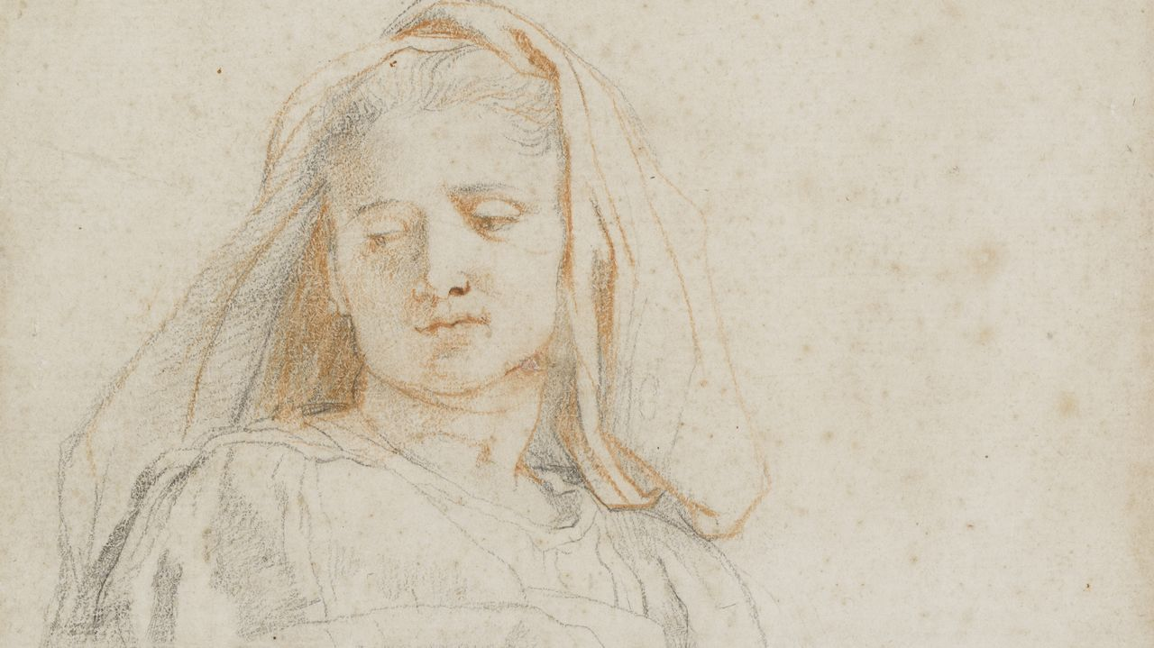 trazoscuatro.LA MADONNA DE RUBENS. Las primeras pinceladas de «Estudio de mujer sedente (La Virgen)», con tiza negra y roja de 1606