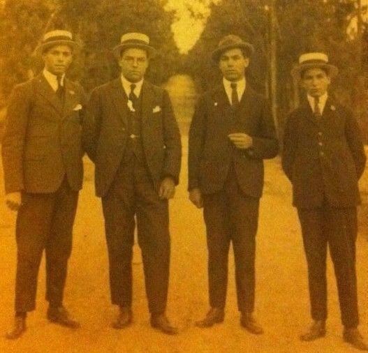 <span lang= gl >Fotografía de catro dos nove irmáns baieses Romero Lema (Pepe, Perfecto, Germán e Paco). </span>