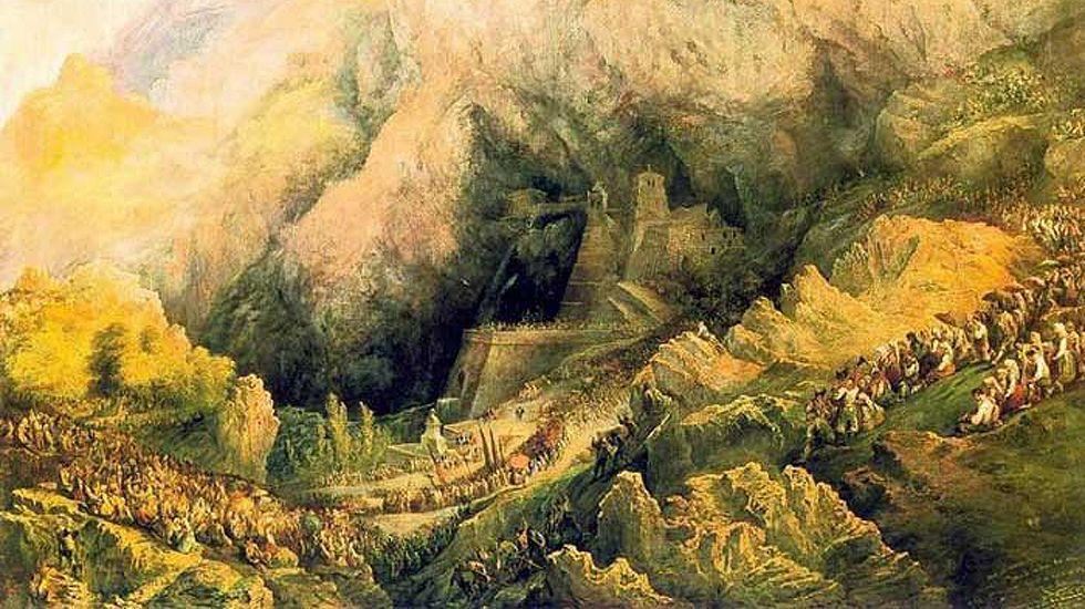 El temporal de lluvia barre Oviedo.Fragmento de «Procesión en Covadonga», de Pérez Villaamil