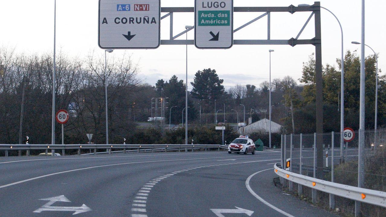 Los tramos de Guntín con el asfalto más deteriorado.Desde esta zona de la N-VI hasta el puente blanco es el tramo que el Concello de Lugo pedira a Fomento