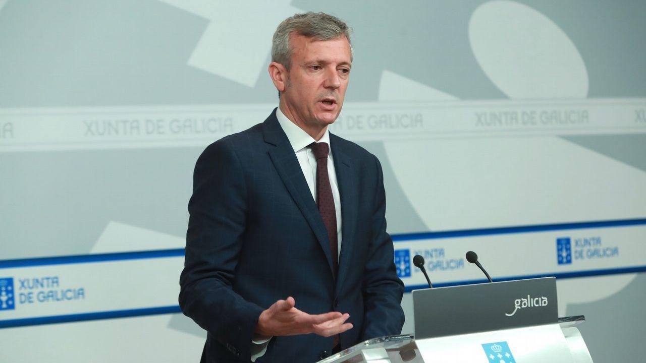 El vicepresidente de la Xunta, Alfonso Rueda, compareció tras el Consello debido a la ausencia de Feijoo