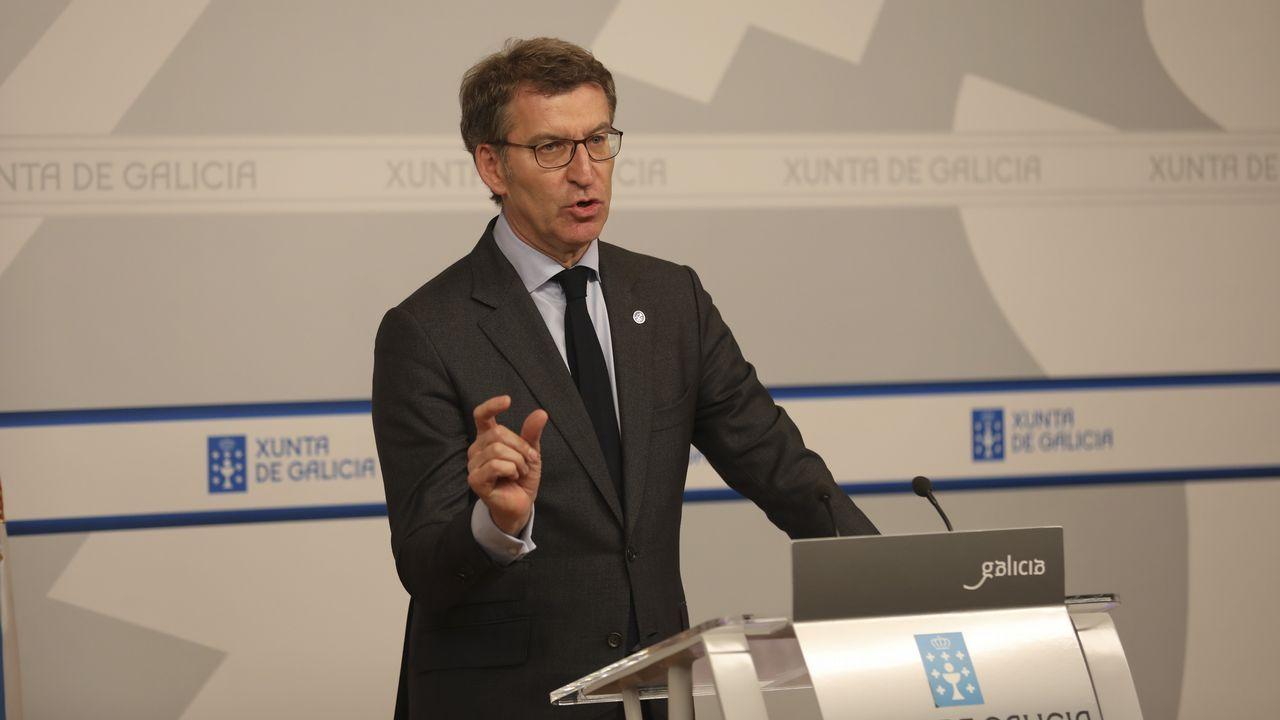 CIS Aixiña: Entidades sociais de Ourense deseñan unha X humana..Núñez Feijoo en la rueda de prensa posterior a la reunión del Consello de la Xunta