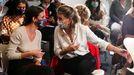 La vicepresidenta segunda del Gobierno, Yolanda Díaz, y la ministra de Igualdad, Irene Montero, este viernes, durante un seminario feminista celebrado en Madrid.