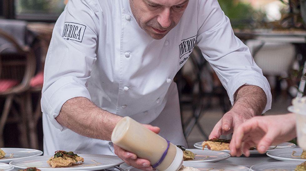 Nacho Manzano, en la cocina del Ibérica.Nacho Manzano, en la cocina del Ibérica