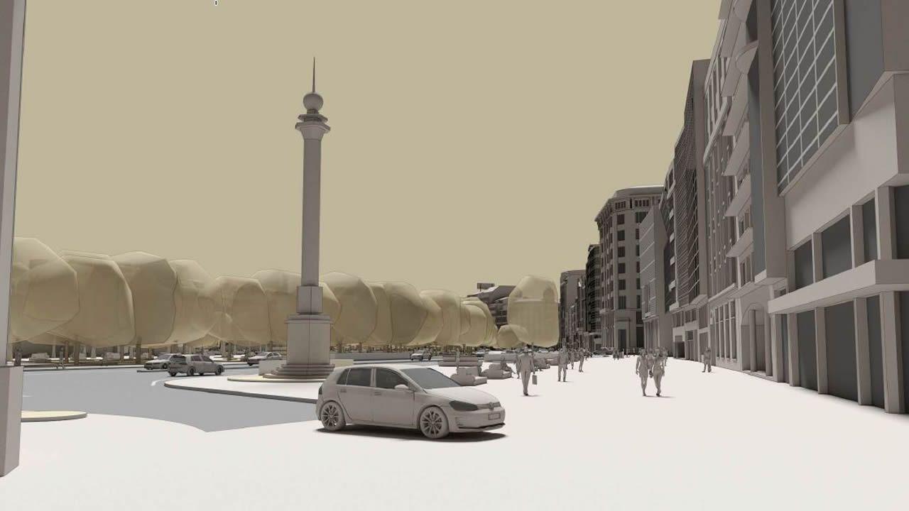 El proyecto prevé recuperar el espacio en torno al Obelisco, hoy rodeado de coches como se aprecia en la imagen, y restringir la circulación por Rúa Nova