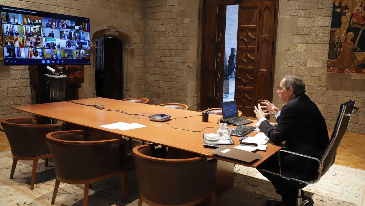 Quim Torra, durante la reunión telemática del martes del Gobierno catalán