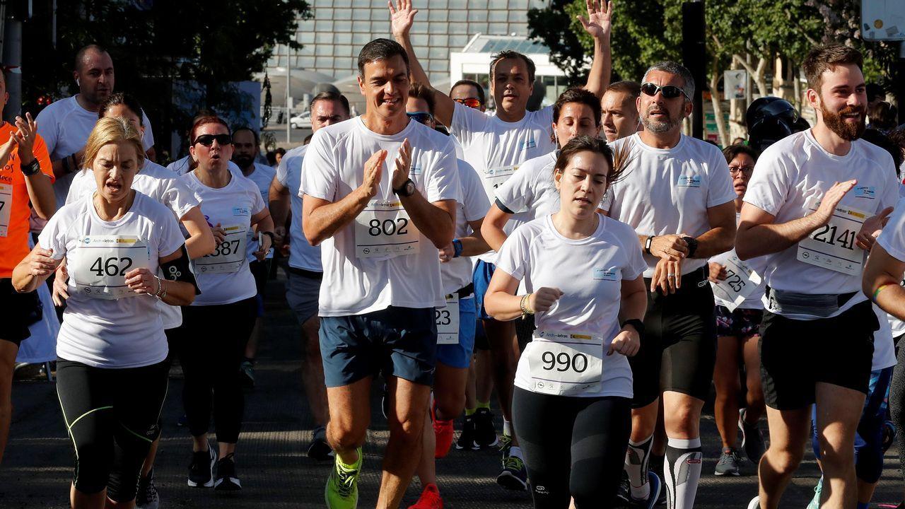 Sánchez participó ayer en la sexta edición de la carrera contra la violencia machista en Madrid