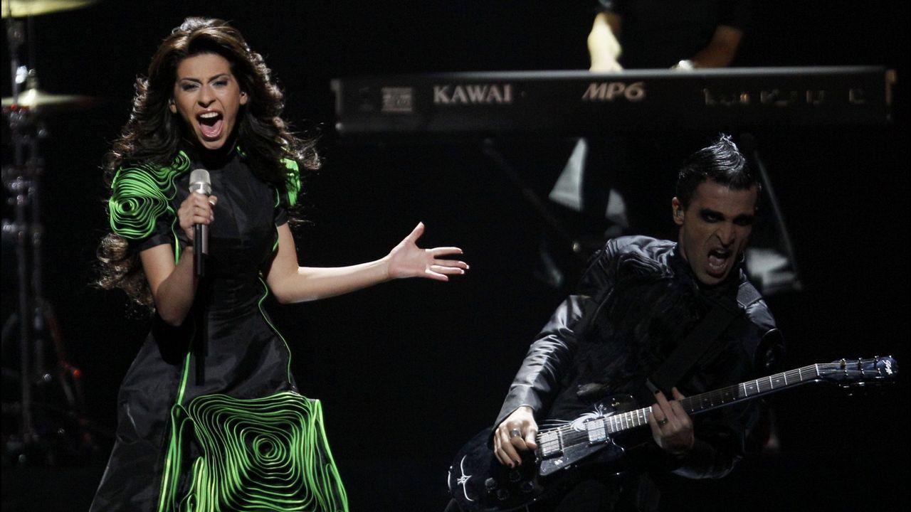 Eldrine acudió a Eurovisión representando a Georgia con un vestido complicado