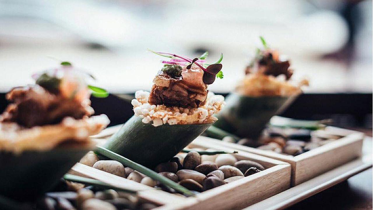 Taco thai del restaurante El Medio Lleno, de Gijón.Taco thai del restaurante El Medio Lleno, de Gijón