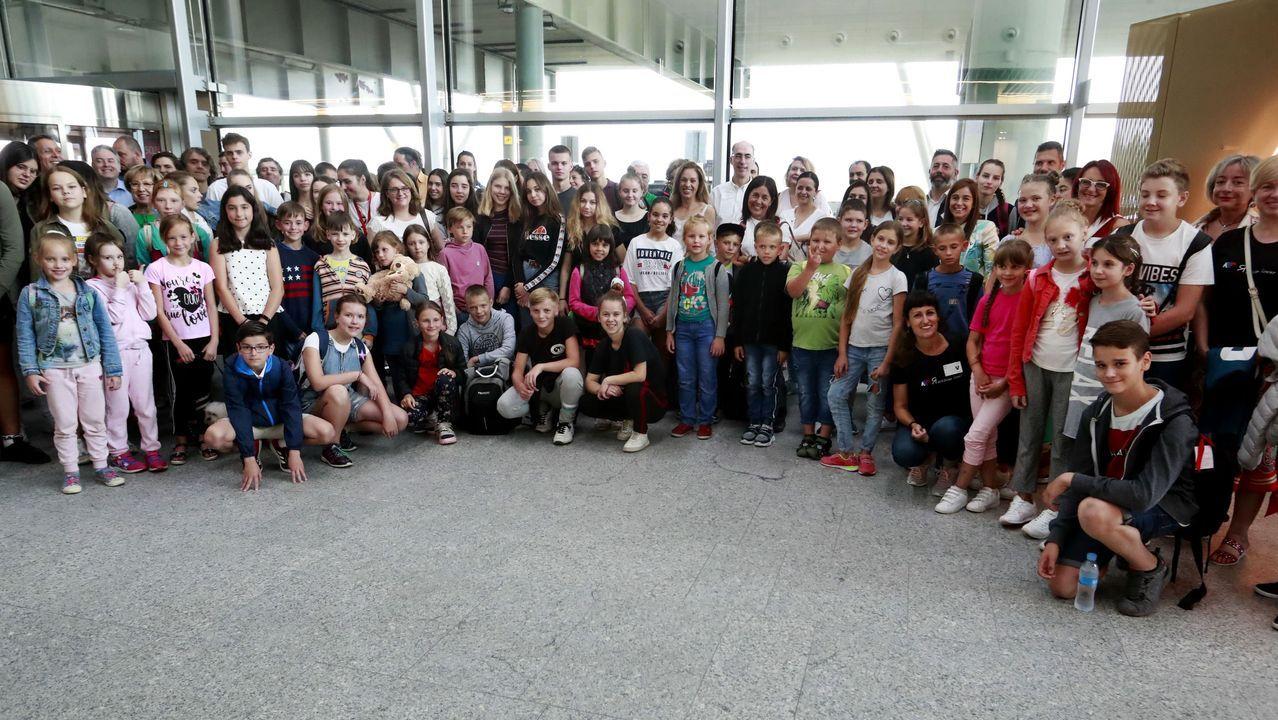 Llegada de los niños de la zona de Chernóbil al aeropuerto de Santiago en 2019