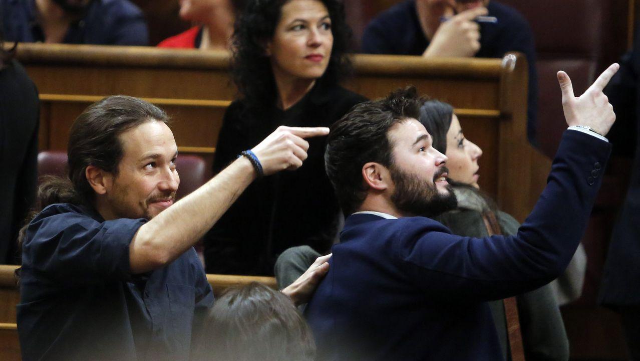 Pablo Iglesias y Gabriel Rufián, en el Congreso