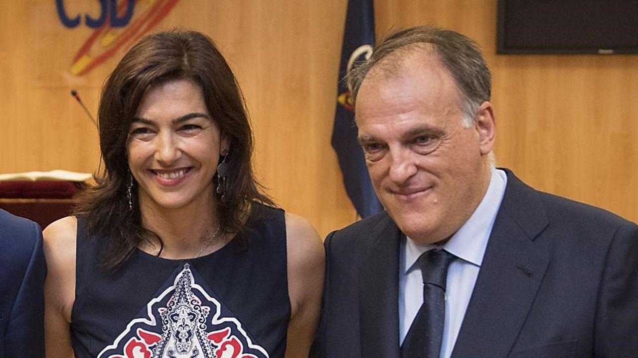 Los meses más duros de Luis Enrique.María José Rienda, presidenta del CSD, junto a Javier Tebas, presidente de la Liga