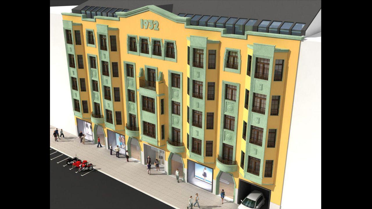 Reproducción virtual del edificio de Zara en la calle Melquiades Álvarez de Oviedo, una vez rehabilitada