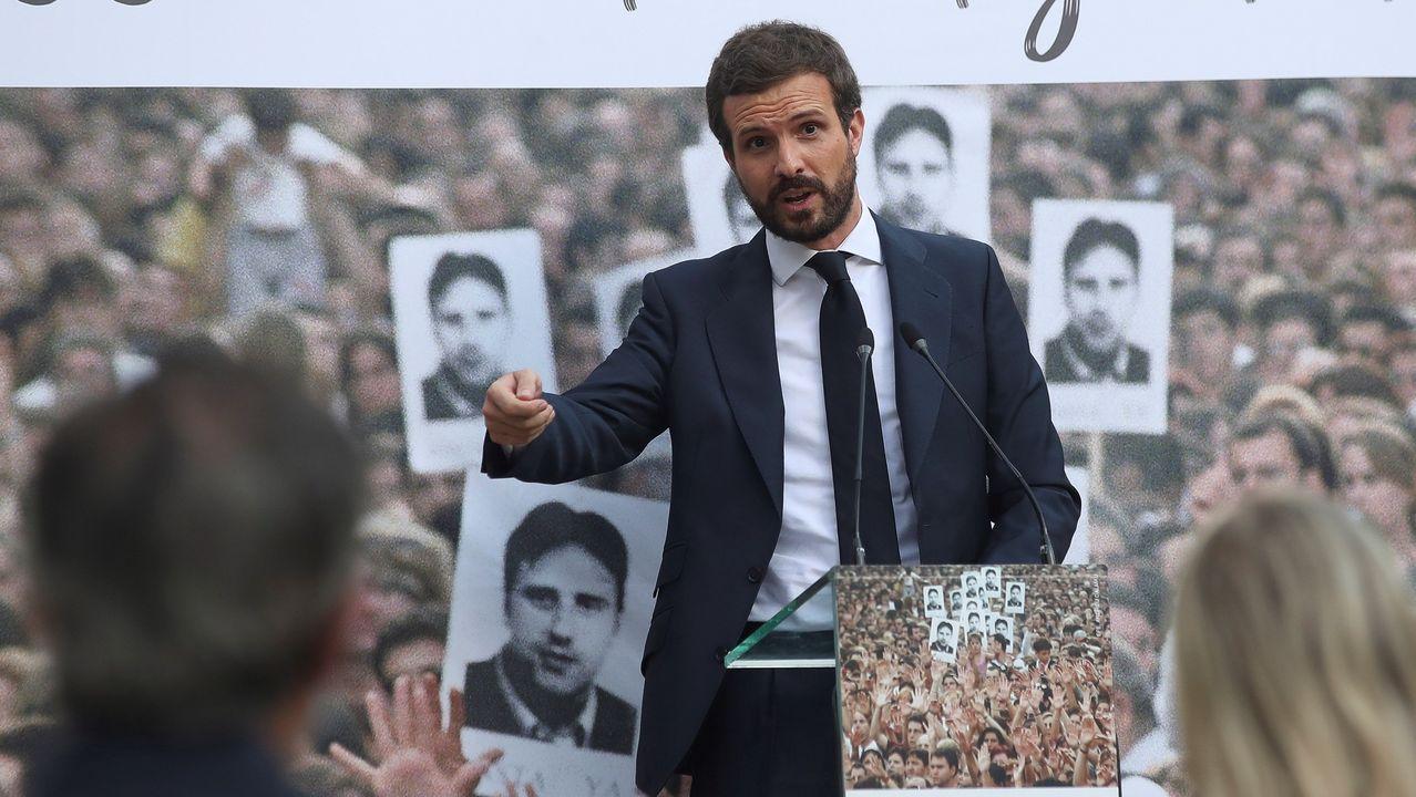 El líder del PP, Pablo Casado, en el homenaje a Miguel Angel Blanco celebrado en el parque que lleva su nombre en Madrid