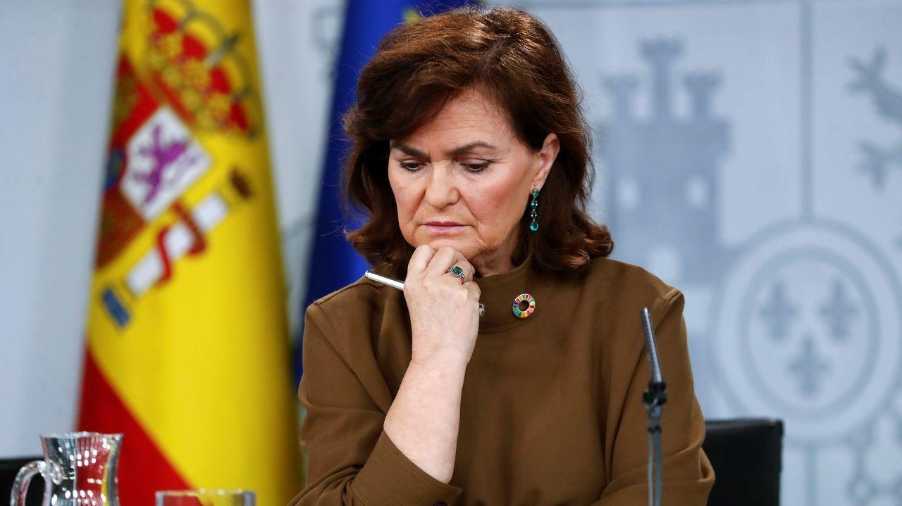 La vicepresidenta del Gobierno, Carmen Calvo, durante la rueda de prensa posterior a la reunión del Consejo de Ministros
