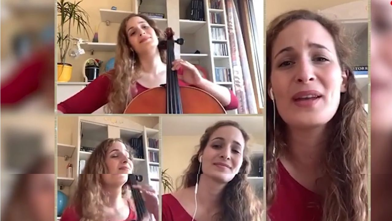 «Adios ríos, adiós fontes» cantado e tocado ao chelo dende Basileapor una intérprete de Sanxenxo